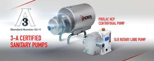 INOXPA получила санитарный сертификат 3-A на насосы PROLAC HCP и SLR